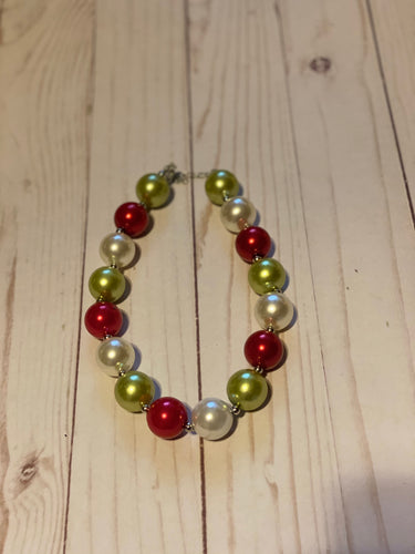 Red and Green Bubblegum Bead Necklace