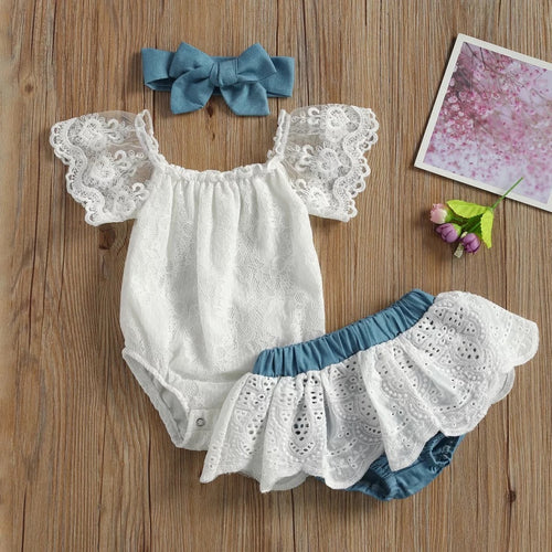 Lace Onesie and Chambray Bloomer Set