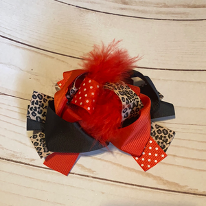 Red and Leopard Feathered Hair Bow