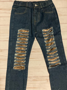Distressed Sequin Jeans