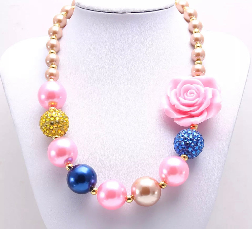 Pink, Gold, and Blue Bubblegum Bead Necklace
