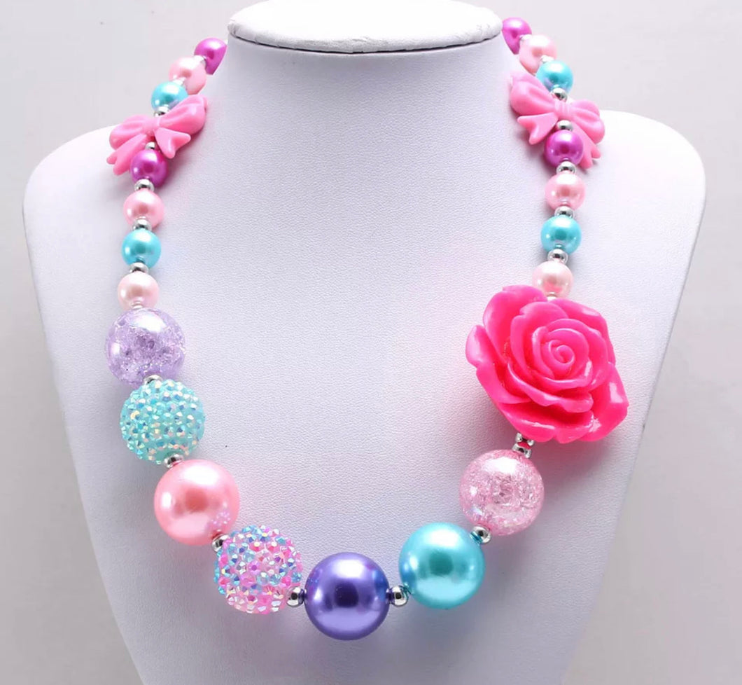 Multi-Colored Pink Rose Bubblegum Necklace