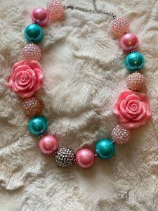 Aqua and Pink Flowers Bubblegum Necklace