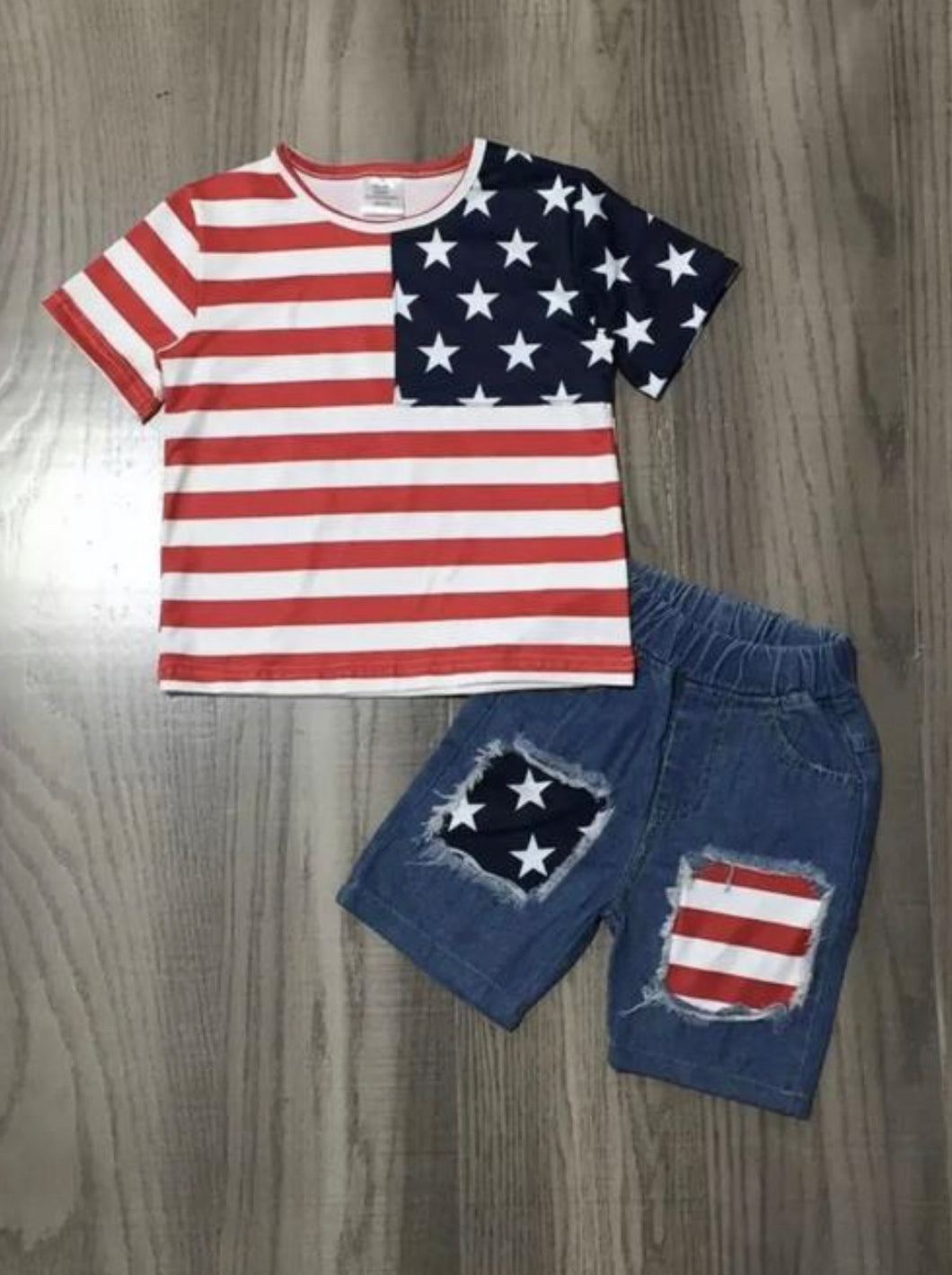 Boys Distressed Patriotic Shorts Outfit