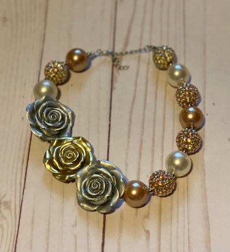 Silver and Gold Flower Bubblegum Bead Necklace