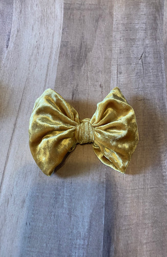 Mustard Gold Velvet Hair Bows