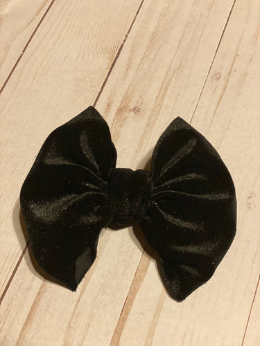 Gold Sparkle Black Velvet Hair Bow