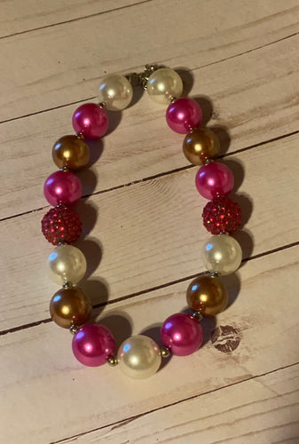 Fuchsia and Copper Bubblegum Bead Necklace