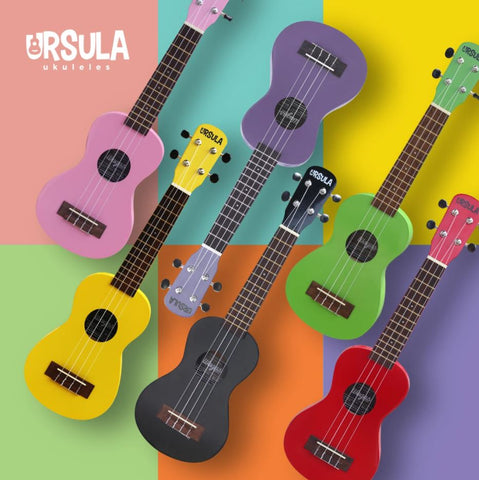 pink yellow purple black green red wagas ukulele collection