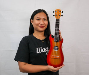 SUNBURST RED CUTAWAY TRAVEL UKULELE - Wagas Ukuleles