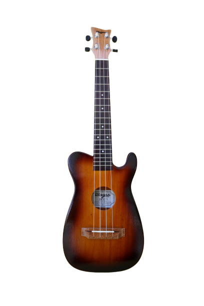 Single Cutaway Sunburst Brown Tenor Ukulele - Wagas Ukes
