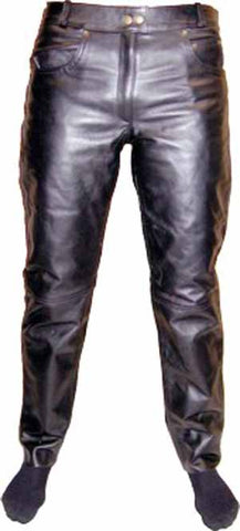 "RS Leathers women's cowhide jeans are great for the ""Biker Babes"""