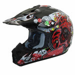 TH-TX12-BJ-size - The THH TX-12 Black Joker #5 offroad/dirt helmet is available for adults and also for youth