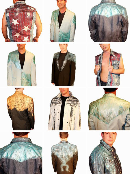 Custom painted jackets, jeans, vests, tuxedos