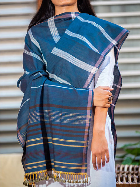 Women Cotton Handwoven Dupatta Medium Blue - ahmedabadtrunk.in