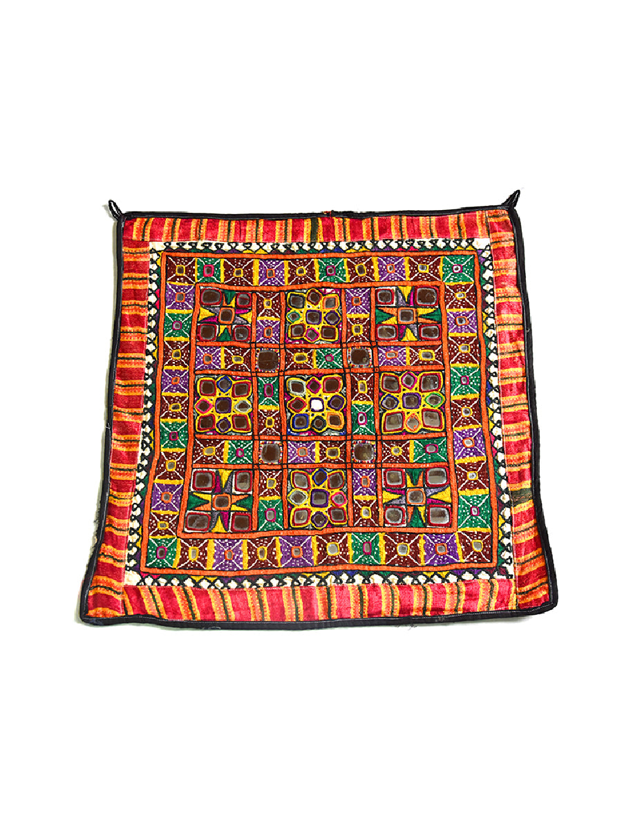 Hand Embroidered Wall Hanging, Chakla, Gujarat. Kathi Rajput-2161 - ahmedabadtrunk.in