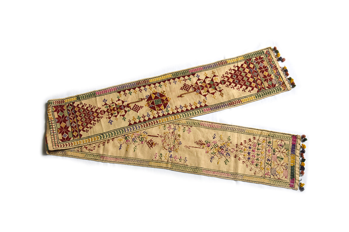 Hand embroidered Sash, Bokani, Gujarat 2302 - ahmedabadtrunk.in