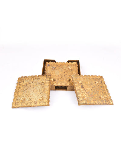 Brass Coasters Set of 6 - ahmedabadtrunk.in
