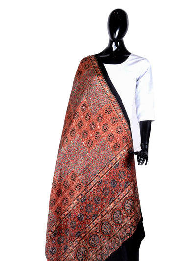 Ajrakh Modal Silk Dupatta With Mirror Work - ahmedabadtrunk.in