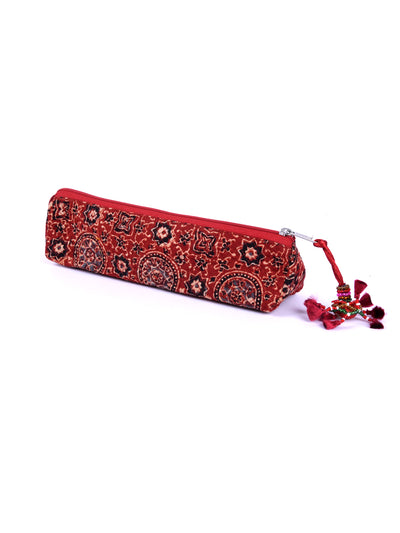 Ajrakh Block Printed Pencil Pouch - ahmedabadtrunk.in