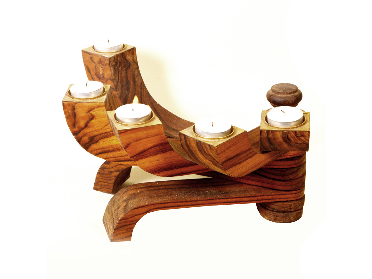 Wooden candle stand - ahmedabadtrunk.in