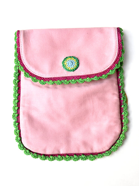 Sling Bag Pink With green Border for Kids - ahmedabadtrunk.in