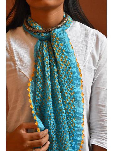 Bandhni Tie-Dye Stole Medium Sky Blue And Yellow for women - ahmedabadtrunk.in