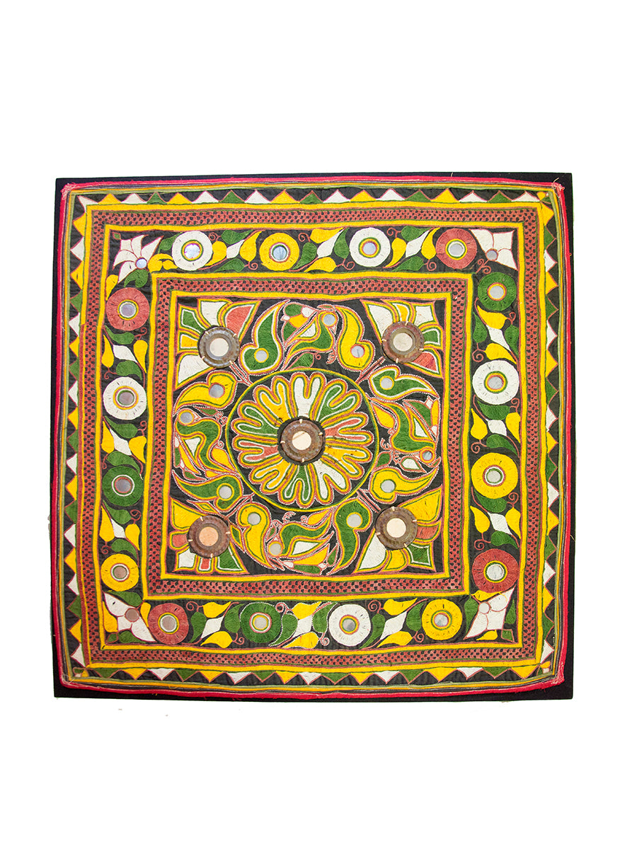 Hand embroidered wall hanging, Chakla, Kutch (Gujarat) Ahir-239 - ahmedabadtrunk.in