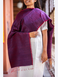 Banarasi Handwoven Raw Silk Stole Medium Purple - ahmedabadtrunk.in