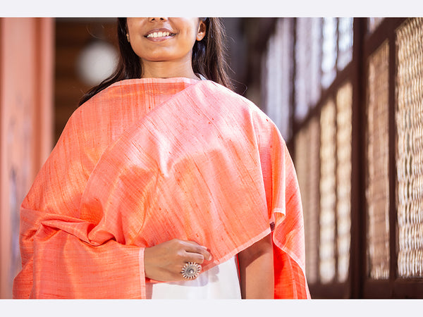Banarasi Handwoven Raw Silk Stole Medium Orange - ahmedabadtrunk.in