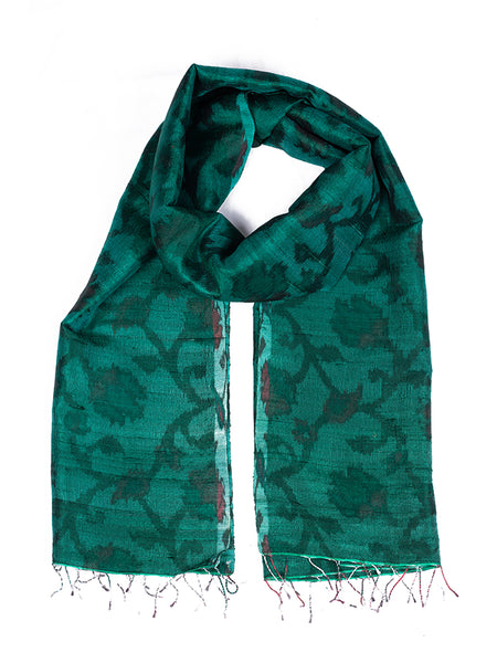 Women Banarasi Handwoven Tie & Dye Raw Silk Stole Medium - ahmedabadtrunk.in