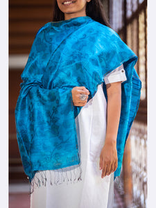 Banarasi Raw Silk Stole Handwoven Stoles Medium Blue - ahmedabadtrunk.in