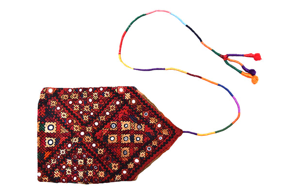 Hand embroidered Pouch, Kutch (Gujarat) Kharek-1615 - ahmedabadtrunk.in