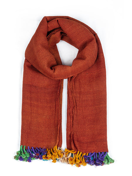 Kutchi Woolen Scarf Medium Red With Tassels For Women - ahmedabadtrunk.in
