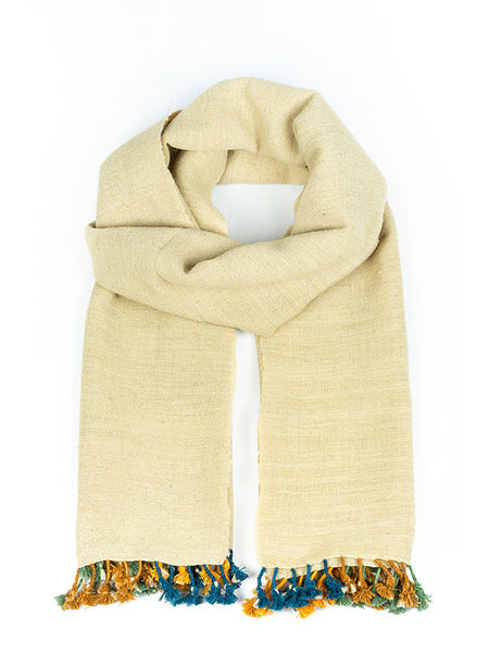 Kutchi Woolen Scarf Medium White With Tassels For Women - ahmedabadtrunk.in
