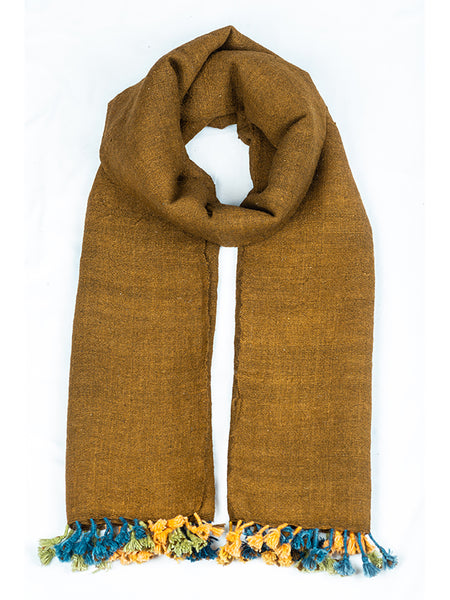 Kutchi Woolen Scarf Medium Brown With Tassels For Women - ahmedabadtrunk.in