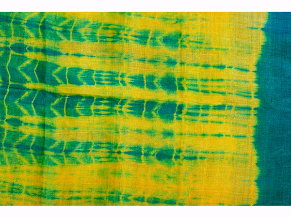 Tussar Silk Shibori Dupatta Medium Green And Yellow for women - ahmedabadtrunk.in