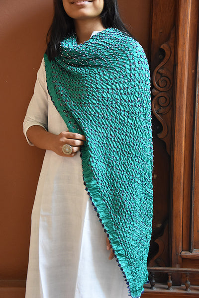 Bandhni Tie-Dye Dupatta Medium Green & Blue for women - ahmedabadtrunk.in