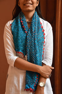 Women Bandhni Tie-Dye Stole Medium Sky Blue And Red - ahmedabadtrunk.in