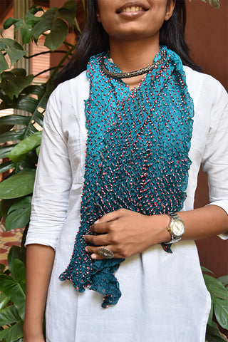 Bandhni Tie-Dye Stole Medium Sky Blue And Red For women - ahmedabadtrunk.in