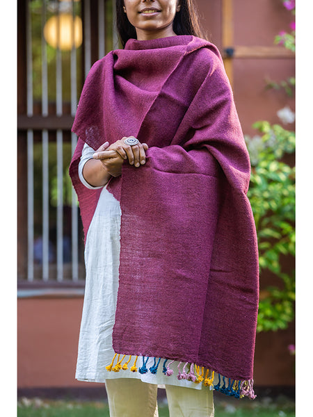 Women Kutchi Woolen Scarf Medium  With Tassels For women - ahmedabadtrunk.in