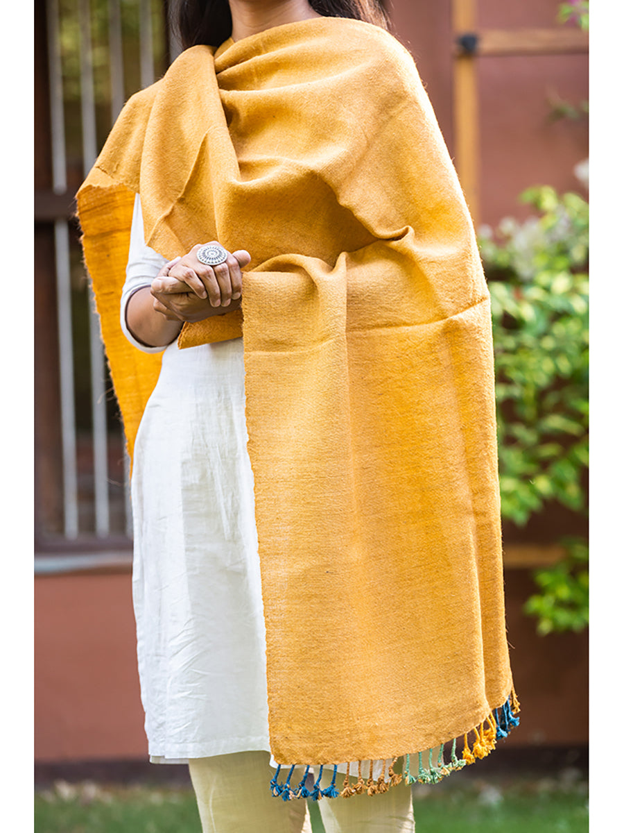 Kutchi Woolen Scarf Medium Yellow With Tassels For women - ahmedabadtrunk.in