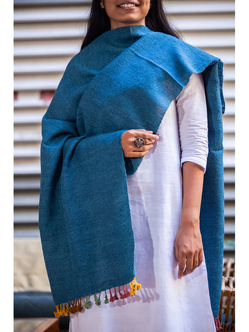 Kutchi Woolen Scarf Medium Blue With Tassels For Women - ahmedabadtrunk.in