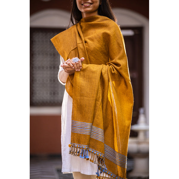 Kutchi Woolen Shawl Medium Yellow With Tassals For Women - ahmedabadtrunk.in