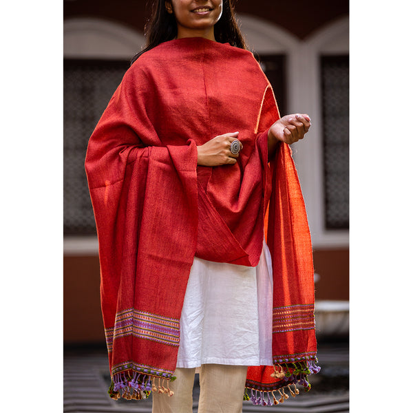 Kutchi Woolen Shawl Medium Red For women - ahmedabadtrunk.in