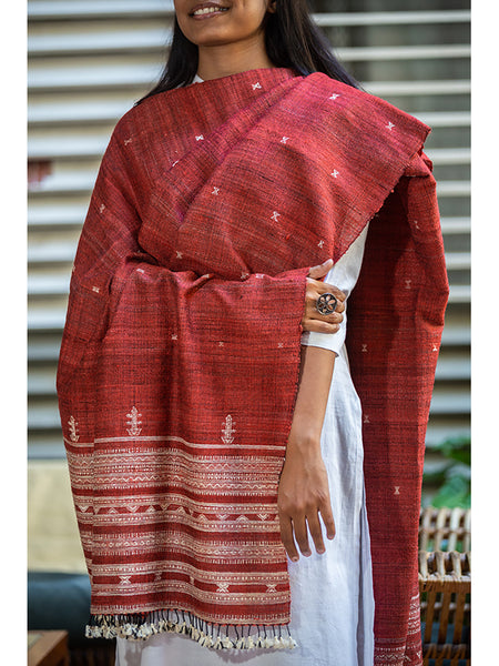 Women Handwoven Dupatta Medium Red - ahmedabadtrunk.in