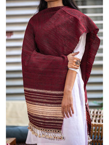 Women Silk Handwoven Dupatta Red - ahmedabadtrunk.in