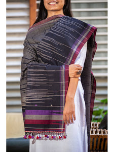 Women CottonHandwoven Dupatta Black - ahmedabadtrunk.in