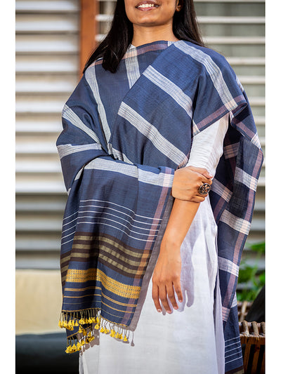 Handwoven dupatta Medium Blue for Women - ahmedabadtrunk.in