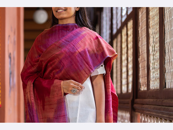 Banarasi Handwoven Raw Silk Stole Medium Brown - ahmedabadtrunk.in